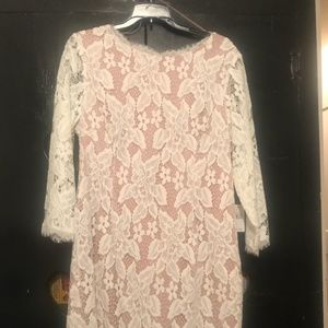 Cocktail Dress Ecru/Cream Laced 3/4 sleeves NWT